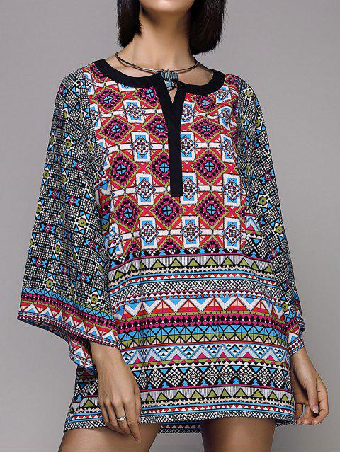 women Wide Sleeve Printed Peasant Top - COLORMIX S Mobile