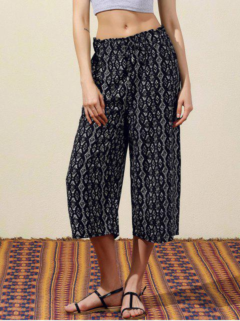 fancy Geometric Print Wide Leg Capri Pants - BLACK S Mobile