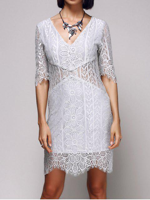 buy V-Neck Bodycon Lace Dress - LIGHT GRAY S Mobile