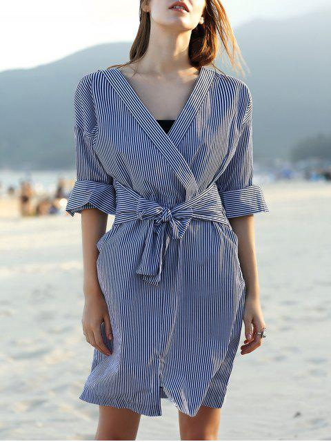 Gestreifte Belted V-Ausschnitt Langarm-Kleid - Weiß & Schwarz XL Mobile
