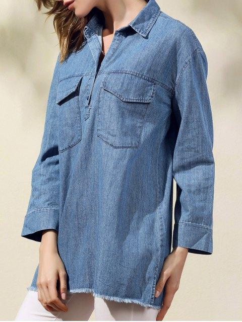shop Two Pockets Oversized Denim Shirt - BLUE L Mobile