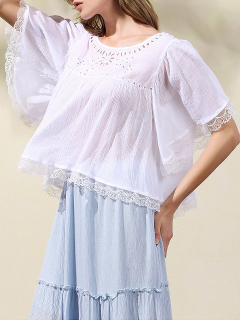 Évider Scoop Neck T-Shirt manches Batwing - Blanc M Mobile