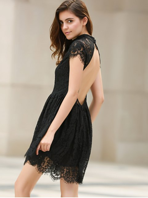 shop Black Lace Short Sleeve Backless Dress - BLACK XS Mobile