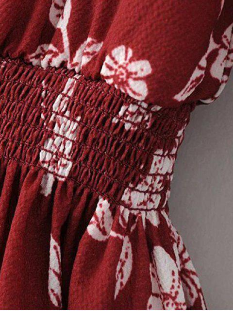 fancy Floral V Neck Half Sleeve Dress - RED L Mobile