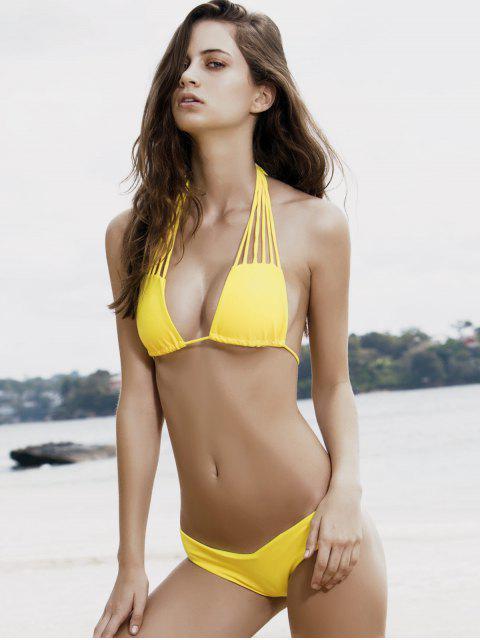 hot Strappy Halter Plunge Neck Bikini Set - YELLOW S Mobile