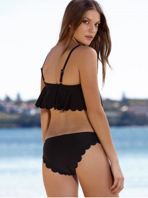 Ensemble de Bikini festonné et élégant en s noir Cami à volants - Noir XL Mobile