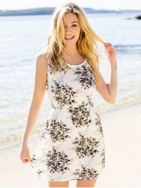 0c1447631 ... Impresa flor de talle mini vestido - Pardo S Mobile ...
