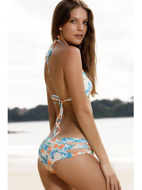 affordable High-Cut Floral Print Stringy Bikini Set - COLORMIX L Mobile