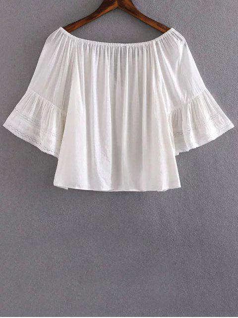buy Lace Splice V Neck Half Sleeve Blouse - WHITE S Mobile