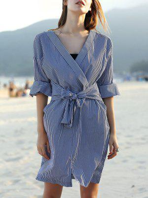 Striped Belted V Neck Long Sleeve Dress - White And Black L