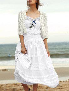 Embroidered Cami Ethnic Dress + Lace Blouse Twinset - White S
