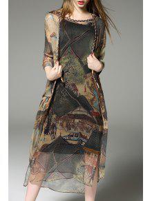 فستان سترة وكارديجان مطبوعة وتوب سترة - M