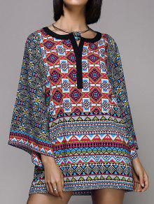 Wide Sleeve Printed Peasant Top - S