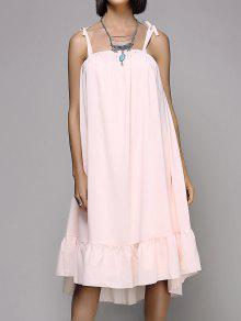 Loose Flounce Ruffles Spaghetti Straps Sleeveless Dress - Pink M