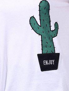 2d636745e 22% OFF] 2019 Cactus Print Round Neck Short Sleeve T-Shirt In WHITE ...