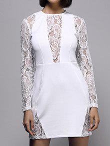 White Lace Spliced Round Neck Long Sleeve Dress - White M