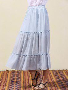 18a0f48d2 29% OFF] 2019 Crinkly Tiered Long Skirt In LIGHT BLUE | ZAFUL