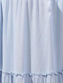 5a275d005 29% OFF] 2019 Crinkly Tiered Long Skirt In LIGHT BLUE | ZAFUL English