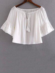 Spitxe Spleiß V Ausschnitt Halbe Hülsen-Bluse - Weiß S