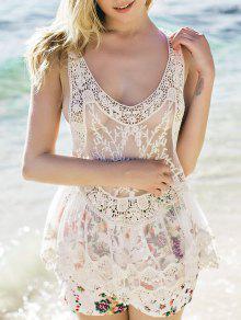 Sheer Tank Top Crochet - Blanco