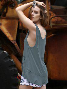 Loose Solid Color Flounce Ruffles Scoop Neck Tank Top - Blue Gray S