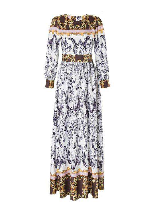 womens Abstract Printed Long Sleeve Maxi Dress - MULTICOLOR M