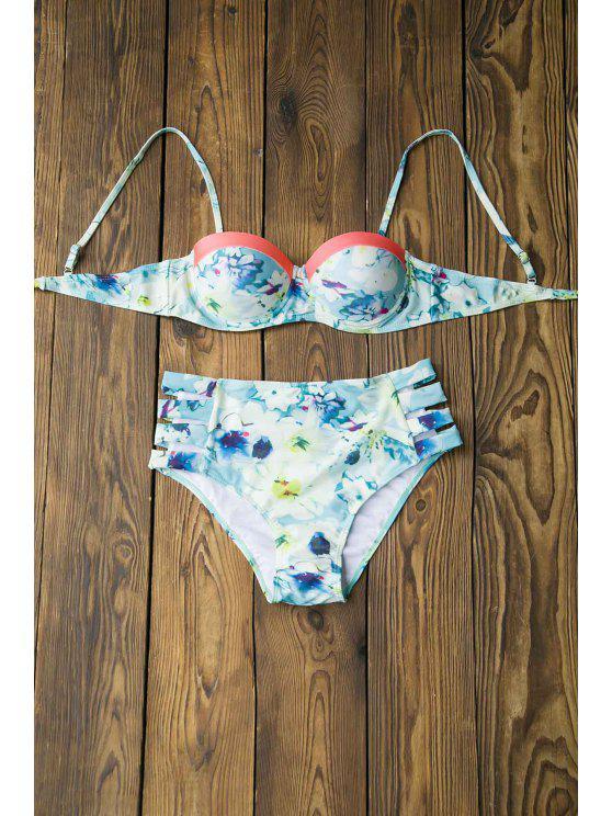 Estampado Floral Cami Push-Up Bikini Set - Colormix L