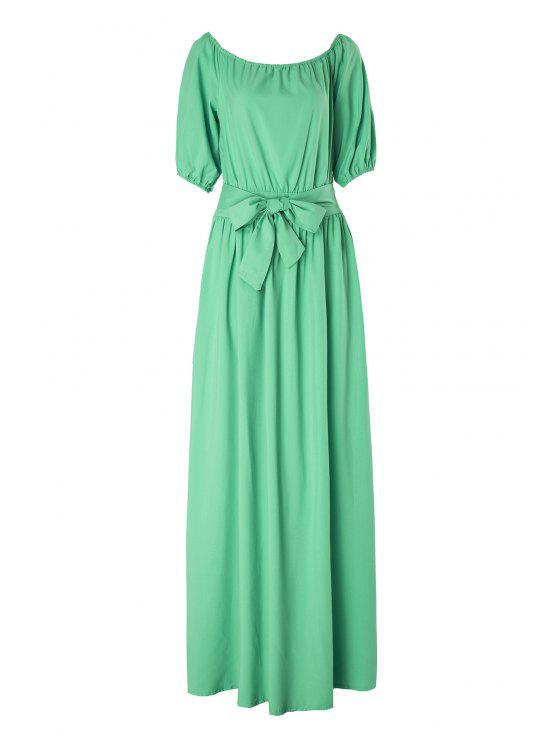 affordable Slash Neck Green Half Sleeve Dress - LIGHT GREEN M