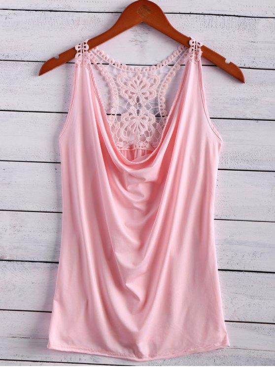 fancy Lace Spliced Cowl Collar Tank Top - PINK S