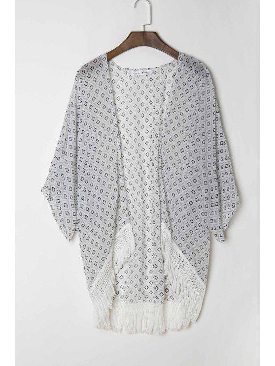 ladies Polka Dot Print 3/4 Sleeve Kimono - WHITE S