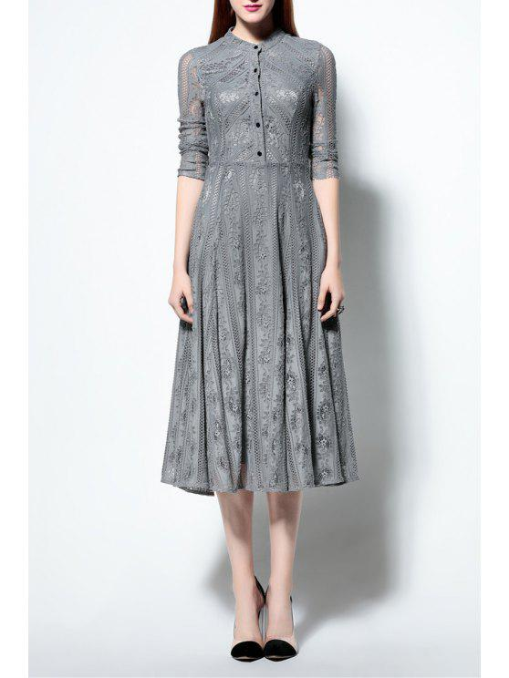 online Solid Color Ruched Lace Dress - GRAY XL