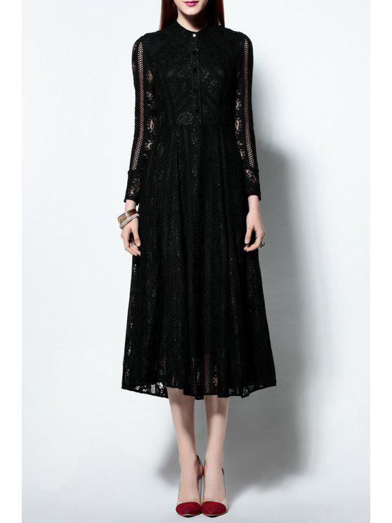 buy Solid Color Ruched Lace Dress - BLACK S