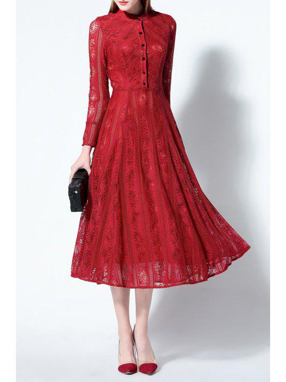 online Solid Color Ruched Lace Dress - RED L