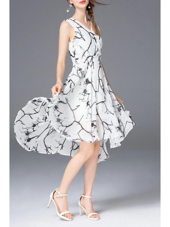 fashion High Low A Line Chiffon Print Dress - WHITE XL