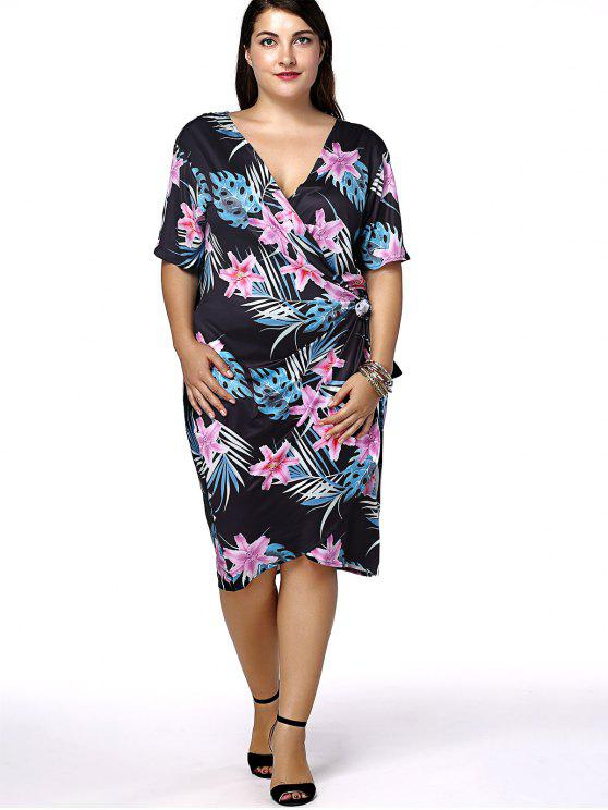 Plus Size Hawaiian Floral Short Sleeve Wrap Dress BLACK