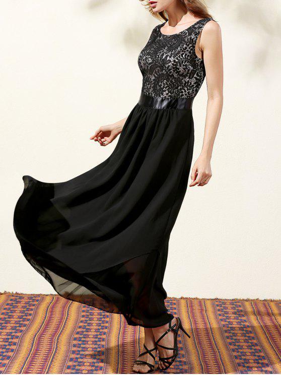 buy Lace Bodice Maxi Prom Dress - BLACK M