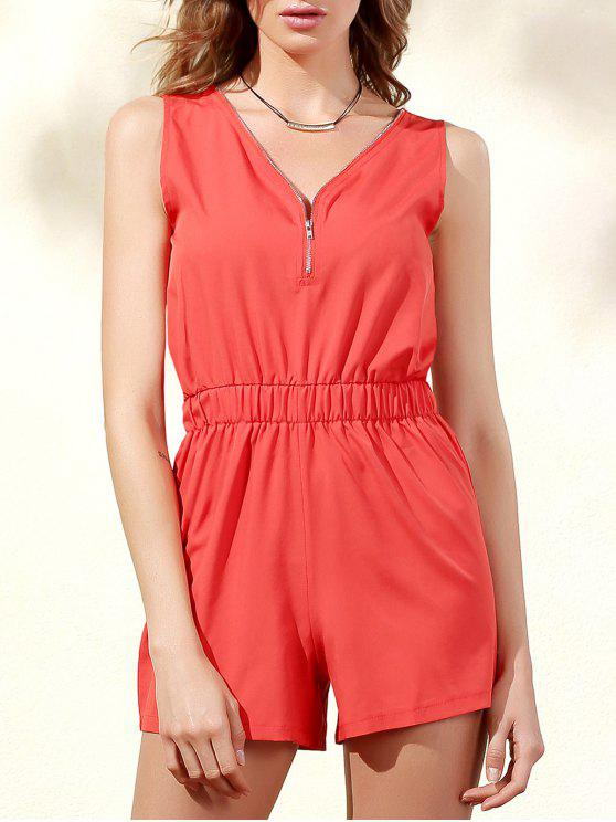 trendy Sleeveless Zip Up Romper - ORANGE RED M