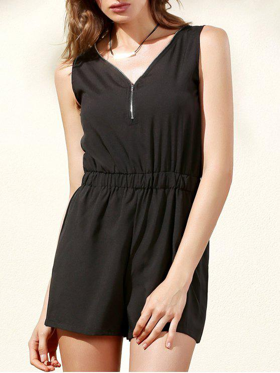 Sleeveless Zip Up Romper - Preto 2XL