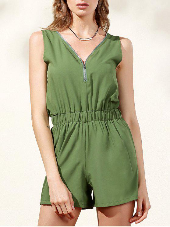 Sleeveless Zip Up Romper - Verde L