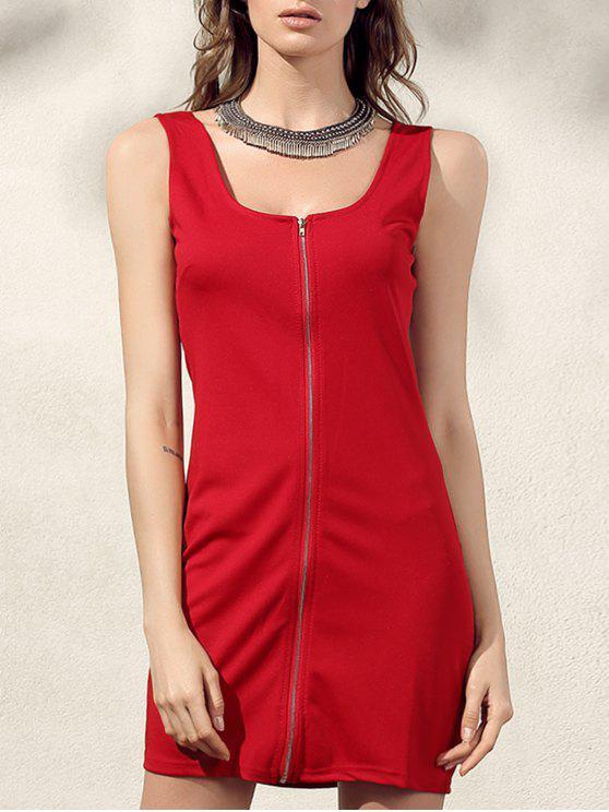 lady Bodycon Zip Dress - RED XL