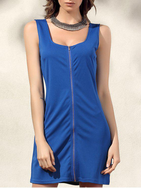 Bodycon Zip-Kleid - Blau XL