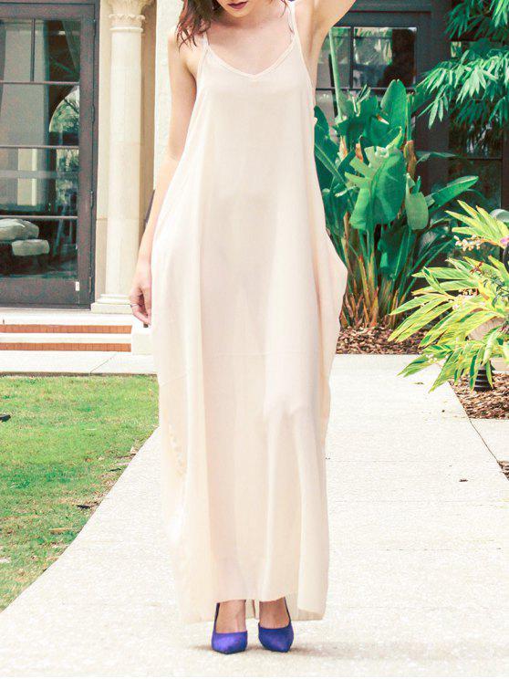 Cami vestido maxi del color sólido - Albaricoque 2XL