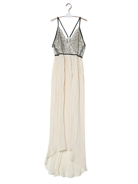 Chiffon Flowing Embroidered Pleated Dress Off White Chiffon Dresses
