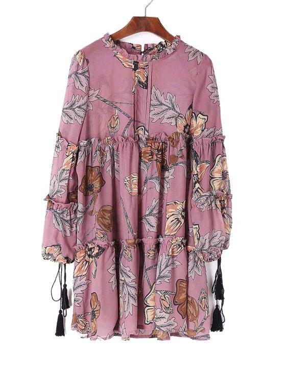 lady Tiered Ruffled Collar Floral Print Dress - PURPLE XL