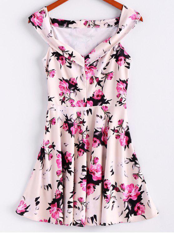 Blumendruck-Sleeveless Waisted eine Linie Kleid - Beige (Weis) L
