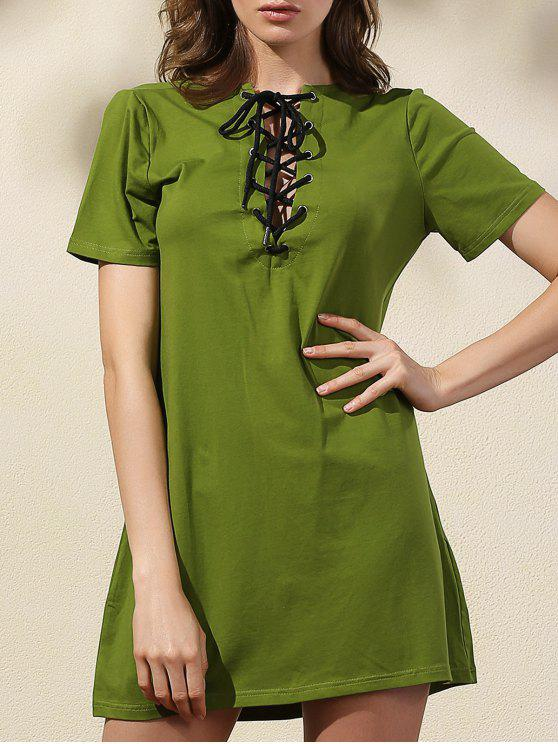 Lace-Up Solid Color-Kleid - Grün 2XL