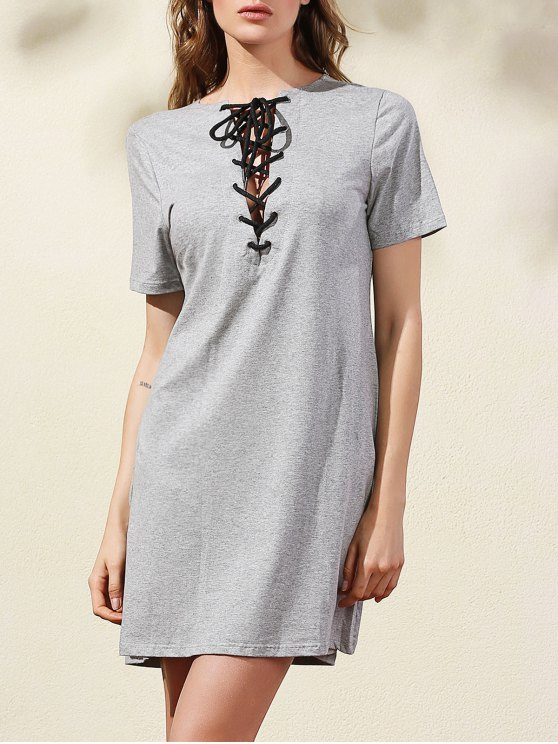 Lace-Up Solid Color-Kleid - Grau M