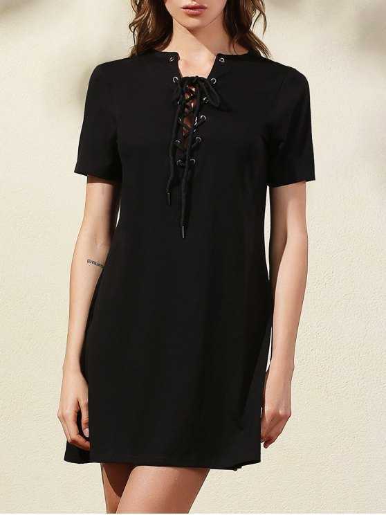 buy Lace-Up Solid Color Dress - BLACK XL