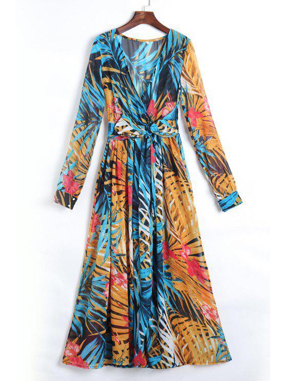 Robe Maxi imprimé tropical à col plongeant à manches lanternes en mousseline de soie - Bleu XL