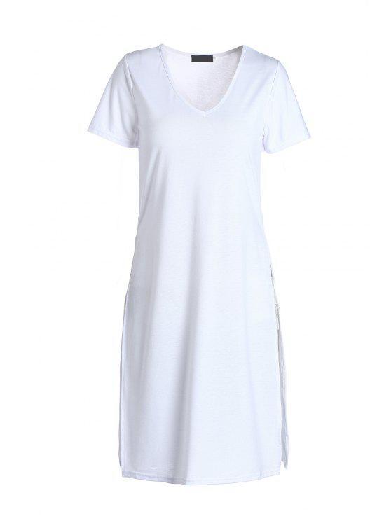 Hundiendo la manga blanca del cortocircuito del cuello de la camiseta - Blanco L